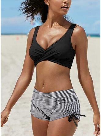 Pasek W prążki Dekolt w kształcie litery V Nieformalny Znakomity Bikini Stroje kąpielowe