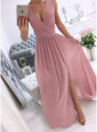 Jednolity Bez Rękawów Sukienka Trapezowa Łyżwiaż Nieformalny Maxi Sukienki