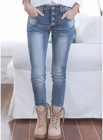Jednolity Dżinsowa Długo Nieformalny Duży rozmiar Pocket Przycisk Dżinsy