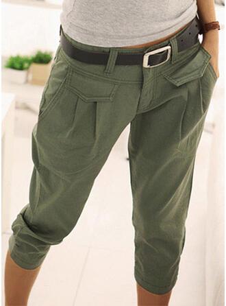 Jednolity Bawełna Capris Nieformalny Wakacyjna Zabytkowe Pocket shirred Spodnie Lounge