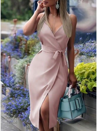 Solid Sleeveless Sheath Wrap/Slip Elegant Midi Dresses