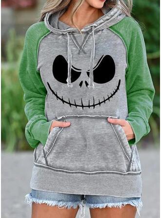 Halloween Nadruk Długie rękawy Bluza z kapturem