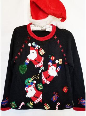 Damskie Nadruk Święty Mikołaj Brzydki świąteczny sweter
