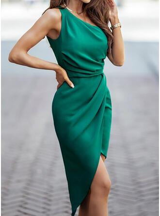 Jednolity Bez Rękawów Pokrowiec Długośc do kolan Elegancki Sukienki