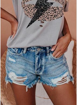 Jednolity Nad kolanem Nieformalny Zabytkowe Duży rozmiar Pocket shirred Ripped Spodnie Szorty Dżinsy