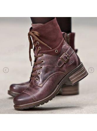 Dla kobiet PU Obcas Slupek Kozaki Martin Buty Wysoki szczyt Z Klamra Elastic Band Kolor splotu Jednolity kolor obuwie