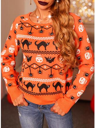 Halloween Nadruk Zwierzę Okrągły dekolt Nieformalny Swetry