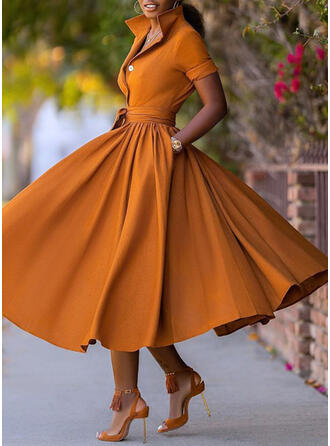 Solid Short Sleeves A-line Skater Party Midi Dresses