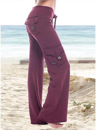 Kieszenie Marszczona Duży rozmiar Długo Nieformalny Elegancki Długi Spodnie