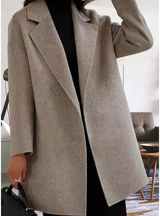 Długie rękawy Jednolity Wełna Płaszcze