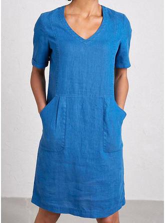 Jednolita Krótkie rękawy Koktajlowa Długośc do kolan Casual T-shirt Sukienki