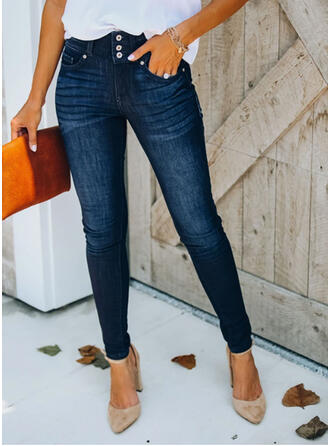 Pockets Shirred Plus Size Elegant Sexy Denim & Jeans