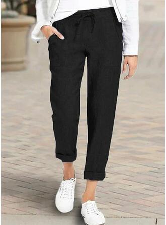 Kieszenie Marszczona Duży rozmiar midi Nieformalny Elegancki Długi Spodnie