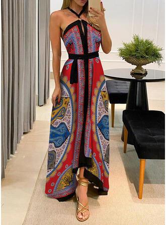 Nadrukowana/Bez pleców Bez rękawów W kształcie litery A Łyżwiaż Seksowna/Przyjęcie Maxi Sukienki