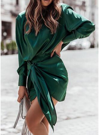 Jednolity Długie rękawy Bodycon Nad kolana Elegancki Sukienki
