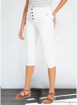 Jednolity Capris Nieformalny Duży rozmiar Biuro / Biznes Pocket Przycisk Spodnie
