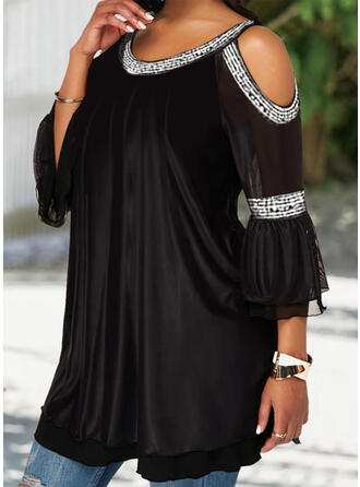 Solid Cold Shoulder 3/4 Sleeves Casual Elegant Plus Size Blouses