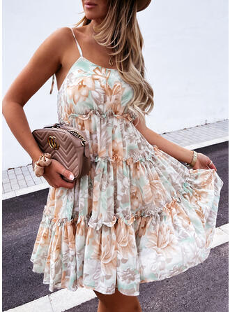 Print/Floral/Backless Sleeveless A-line Above Knee Casual Slip/Skater Dresses