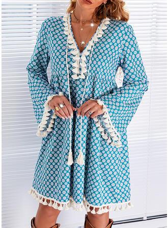 Nadruk Długie rękawy Rękawisko Suknie shift Nad kolana Nieformalny Tunika Sukienki