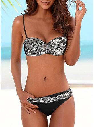 Kolor splotu push up W prążki Seksowny Bikini Stroje kąpielowe