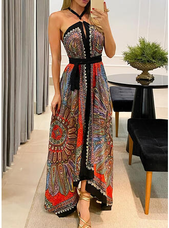 Print/Backless Sleeveless A-line Asymmetrical Casual/Boho/Vacation Skater Dresses