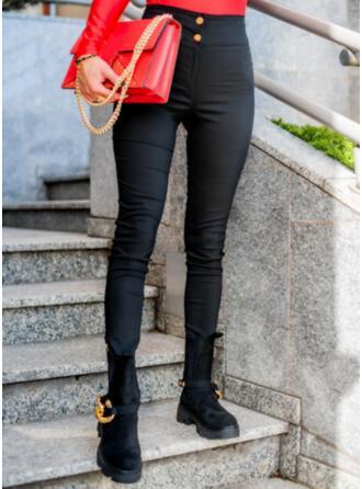 Jednolity Długo Nieformalny Elegancki Duży rozmiar Pocket Przycisk Spodnie