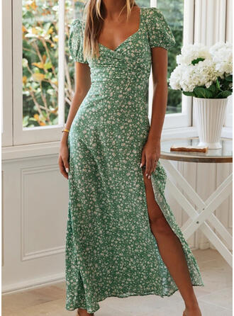 Nadrukowana/Kwiatowy Krótkie rękawy W kształcie litery A Seksowna/Przyjęcie/Wakacyjna Maxi Sukienki