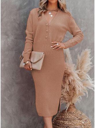 Jednolity Dzianina Długie rękawy Bodycon Sweter/Ołówkowa Elegancki Midi Sukienki