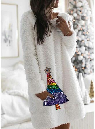 Cekiny Długie rękawy Koktajlowa Długośc do kolan Boże Narodzenie/Casual Tunika Sukienki