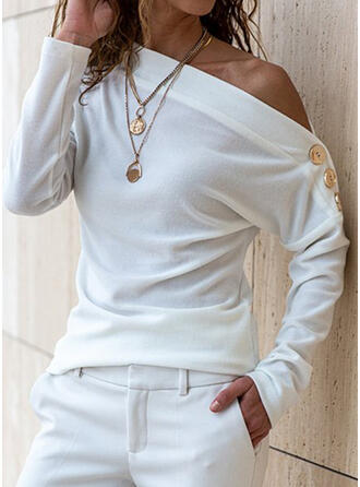 Solid One-Shoulder Long Sleeves Button Up Casual Blouses