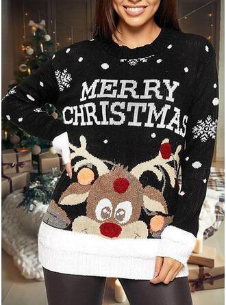 Damskie Nadruk Renifer Wytłaczany Brzydki świąteczny sweter