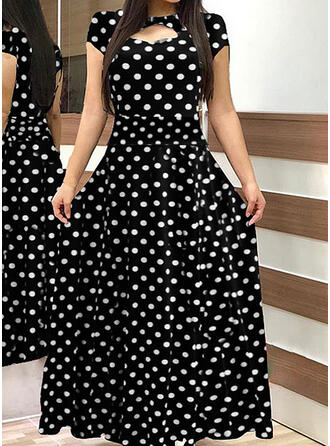 Duży rozmiar Groszki Krótkie rękawy Sukienka Trapezowa Maxi Nieformalny Elegancki Sukienka