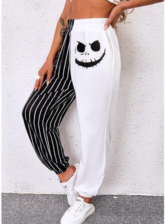 Halloween Blok Koloru Nadruk Długo Nieformalny Pocket shirred Spodnie