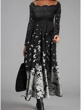 Nadruk Długie rękawy Sukienka Trapezowa Łyżwiaż Nieformalny Midi Sukienki
