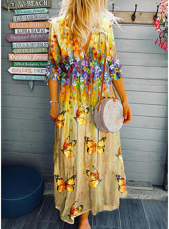 Floral/Animal Print 3/4 Sleeves Shift Casual/Vacation Maxi Dresses