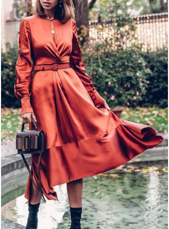 Jednolita Długie rękawy W kształcie litery A Łyżwiaż Casual Midi Sukienki