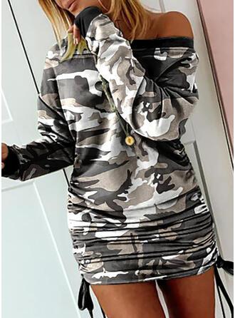 Nadrukowana Długie rękawy Bodycon Nad kolana Casual Bluza Sukienki