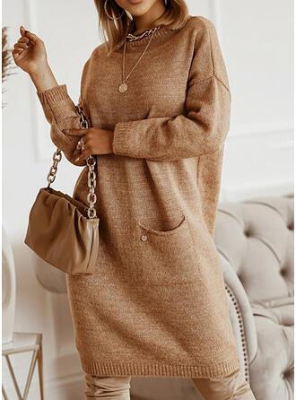 Jednolity Długie rękawy Dropped Shoulder Nieformalny Sukienki