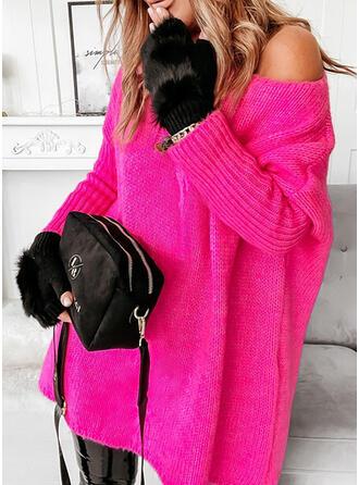Jednolity Na jedno ramię Nieformalny Swetry
