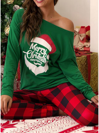 Polyester Long Sleeves Christmas Grid Santa Pyjama Set