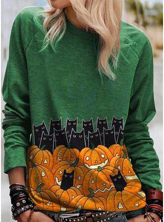 Halloween Nadruk Zwierzęcy Okrągły dekolt Długie rękawy T-shirty