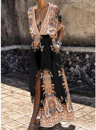 Print 1/2 Sleeves A-line Skater Vintage/Casual/Boho/Vacation Maxi Dresses