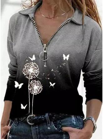 Animal Print Dandelion Lapel Long Sleeves Casual Blouses