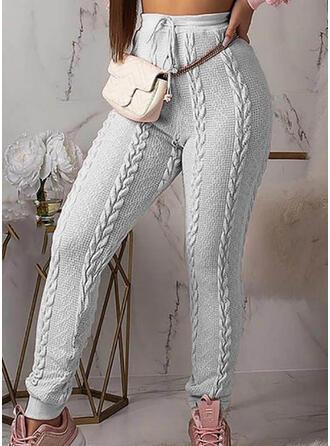 Solid Jacquard Elegant Plain Pants