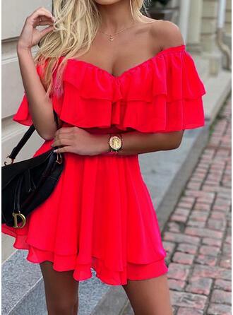 Jednolita Krótkie rękawy W kształcie litery A Nad kolana Przyjęcie Sukienki