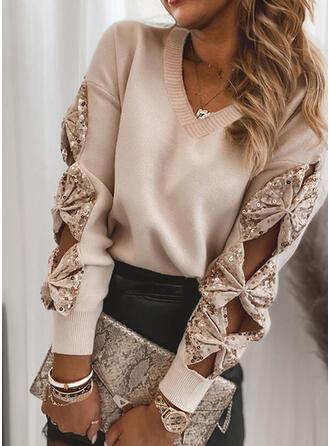 Jednolity cekiny Dekolt w kształcie litery V Casual Swetry