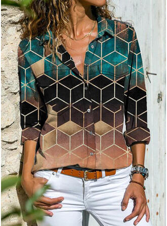 Color Block Geometric Print Lapel Long Sleeves Casual Shirt Blouses
