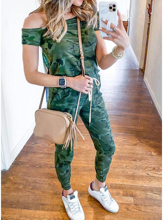 Camouflage Off the Shoulder Short Sleeves Casual Jumpsuit