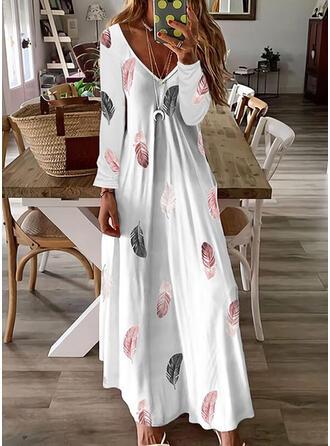 Nadruk Długie rękawy Sukienka Trapezowa Łyżwiaż Nieformalny Maxi Sukienki