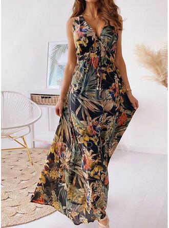 Nadrukowana Bez rękawów W kształcie litery A Casual/Wakacyjna Maxi Sukienki
